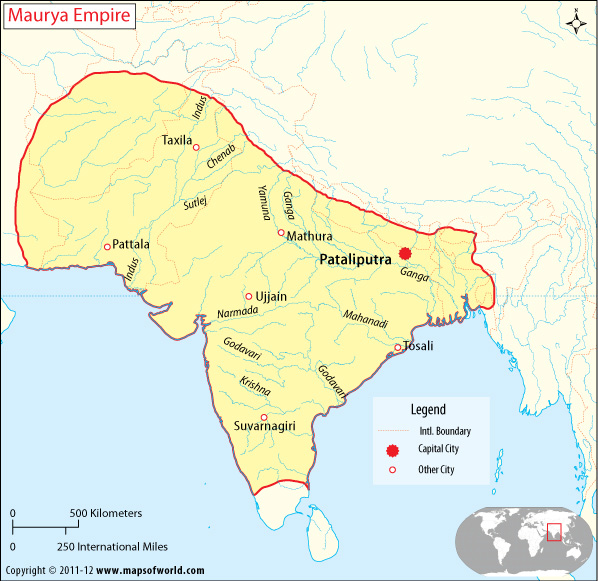 mauryan empire Mauryan empire was sinewy empire in ancient india from 321 to 185 bc maurya dynasty map showing their capital, boundaries and cities where they ruled.
